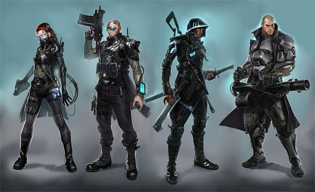 Say hello to the Agents. They'll be your eyes, ears, and weapons in the world of Satellite Reign. From right to left we have the Hacker, the Support, the Assassin and the Soldier.