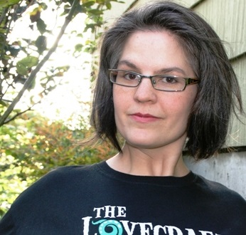 Wendy N. Wagner, wearing what I suspect is a Lovecraft Historical Society shirt (and if it is, I'm jealous).