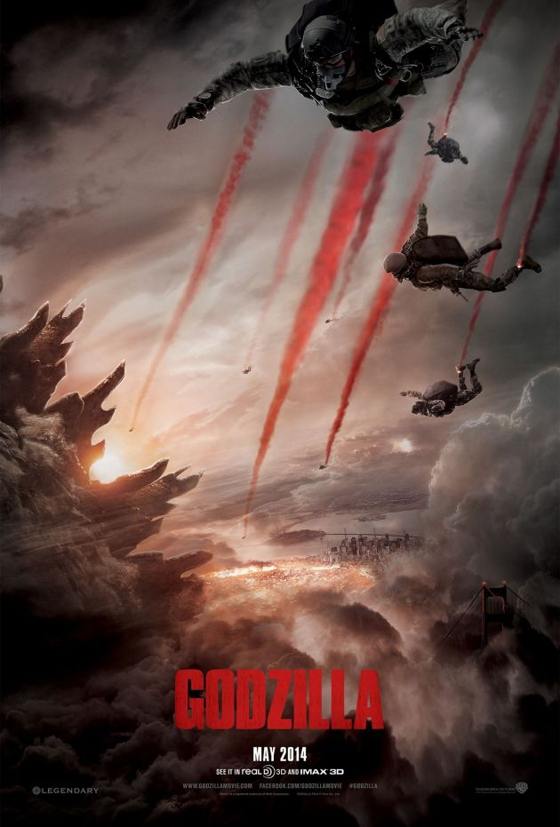 Just like the movie, the poster doesn't give away too much of Godzilla too soon.